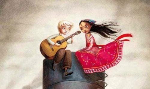 Dziewczyna w czerwonej sukience słucha, jak chłopiec gra na gitarze