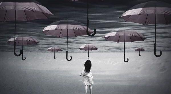 Umysł jest w stanie zrobić wiele - Dziewczyna i parasole.