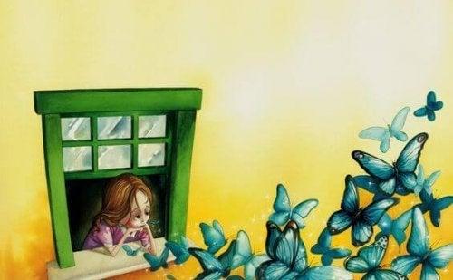Smutna dziewczynka i motyle wylatujące z okna