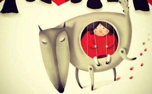 Dziewczynka w klatce w kształcie psa