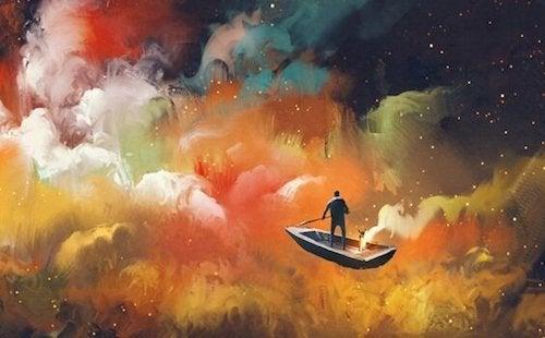 mężczyzna ma statku wśród chmur