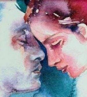 Miłość - para dotyka się głowami