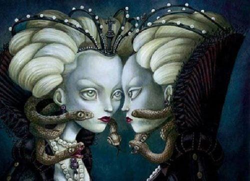 Poczucie winy - kobieta z wężami na głowie