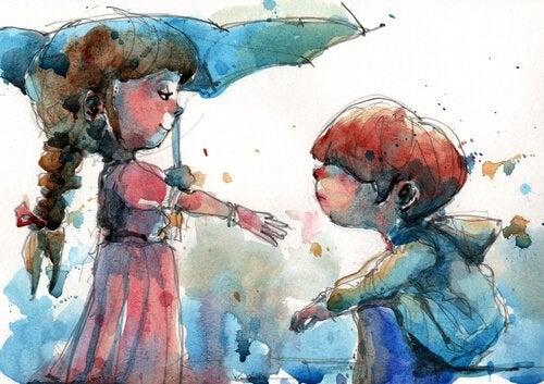 Przyjaciele z parasolką