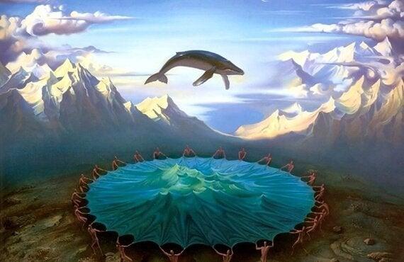 Wieloryb nad zbiornikiem wodnym.