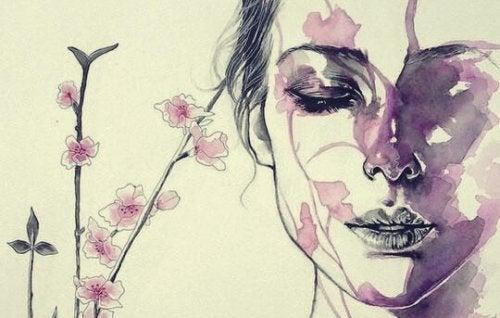 Twarz kobiety i kwiaty