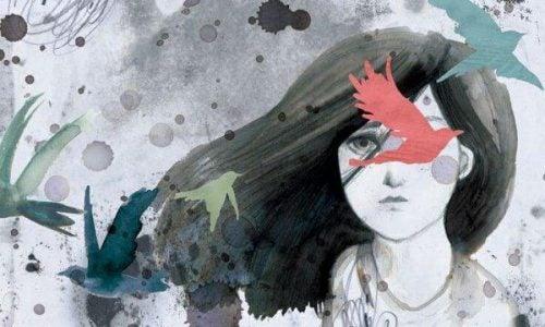 Zwątpienie jak ptaki latające wokół dziewczyny