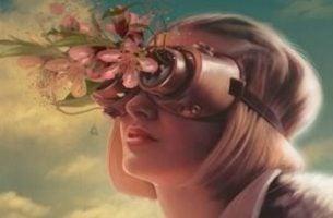 kobieta w kwiecistych okularach - cierpienie