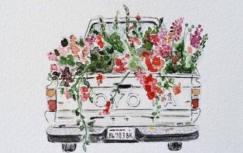 Ciężarówka pełna kwiatów.