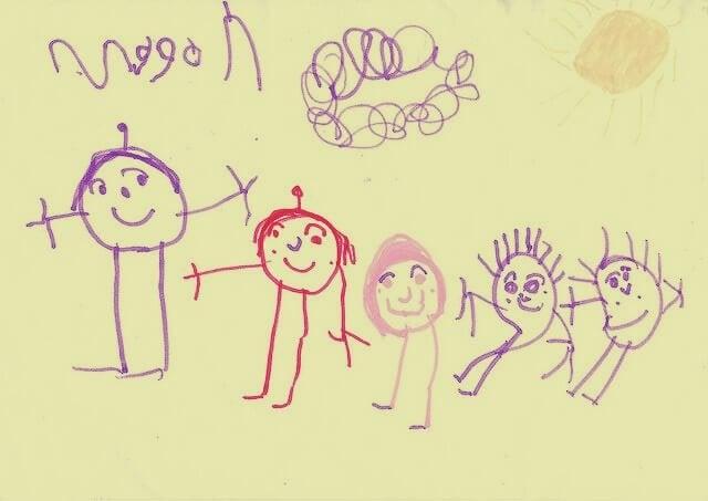 dziecięcy rysunek rodziny