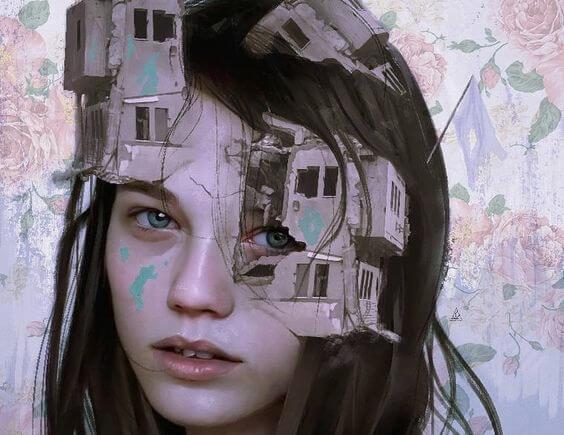 dziewczyna i zrujnowane domy