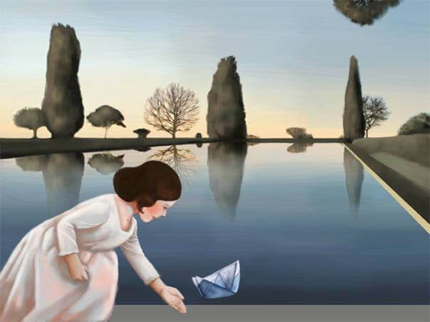 Dziewczynka i papierowa łódka.