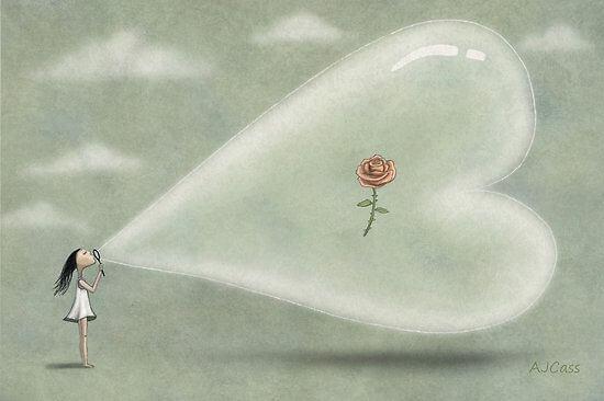 dziewczynka z bańką w kształcie serca