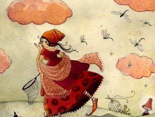 Hobby - kobieta z łapką na motyle