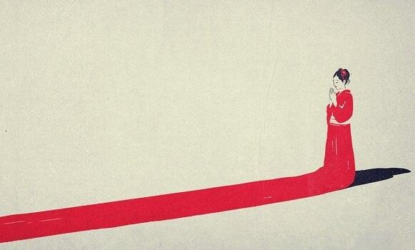 japonka w czerwonej sukni