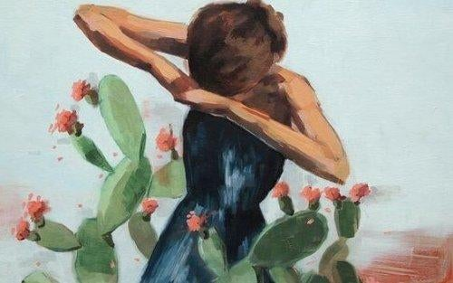 Kobieta otoczona kaktusami symbolizującymi oddane jej przysługi