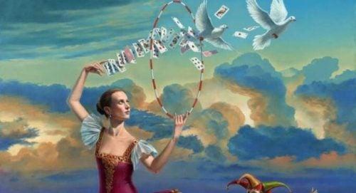 Kobieta z kartami i gołębiami