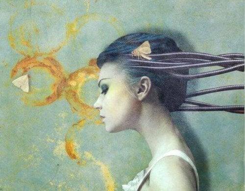 Zniekształcenia poznawcze - kobieta i motyle.