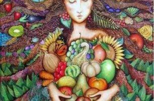 kobieta obejmująca jedzenie