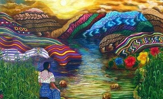 kobieta oglądająca kolorowe wzgórze