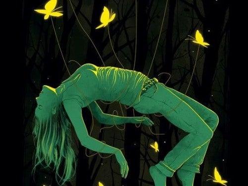 Problemy - Kobieta otoczona przez motyle