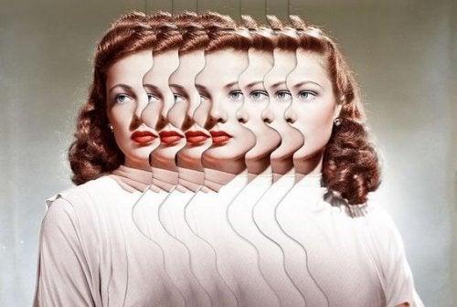 Uczucie niepokoju i stres - kobieta o wielu twarzach.