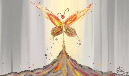 Kolorowy motyl reprezentujący osobisty kryzys