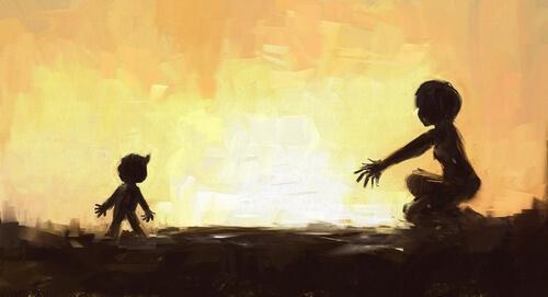 Dziecko biegnie do rodzica