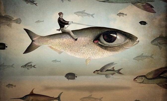 człowiek na rybie