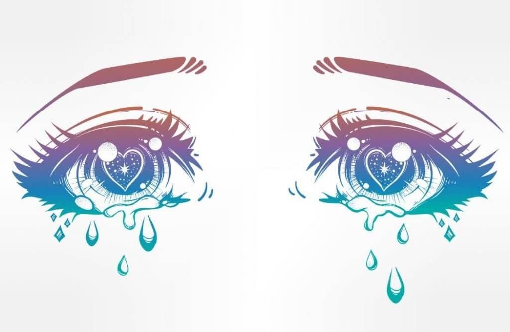 smutne oczy ze łzami