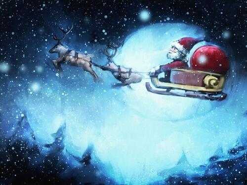 Boże Narodzenie - Święty Mikołaj lata po niebie