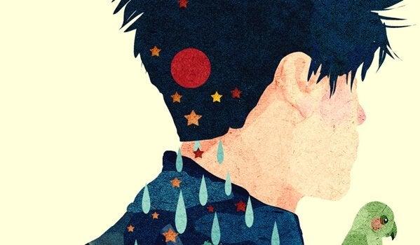 Mężczyzna z gwiazdkami na szyi.