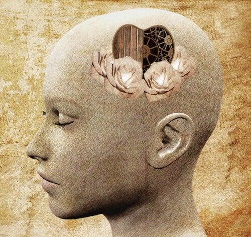 Głowa z sercem w mózgu.