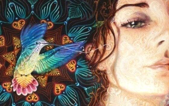 Kobieta i koliber.