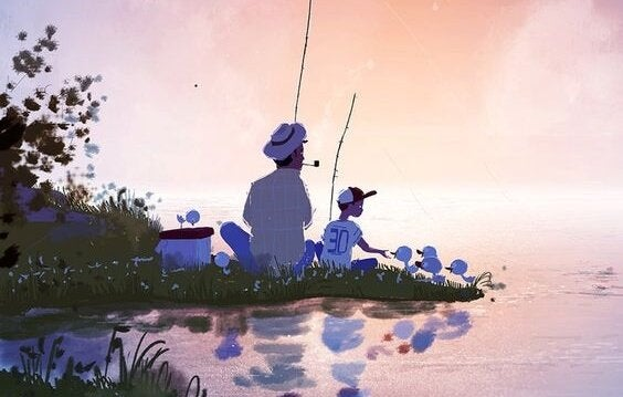 Ojciec z synem na rybach.