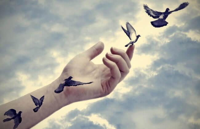 ręka wypuszczająca ptaki