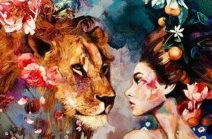 Wiara w siebie - kobieta i lew
