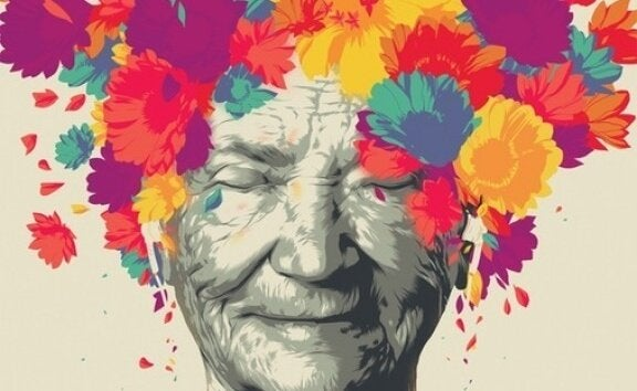 babcia z kwiatami we włosach