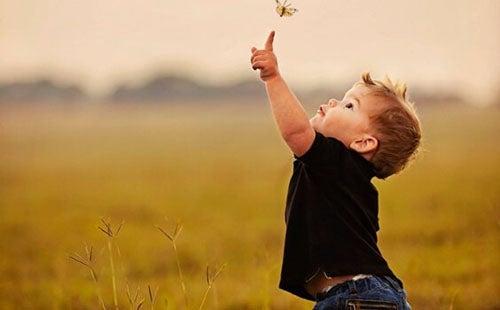 chłopiec łapiący motyle