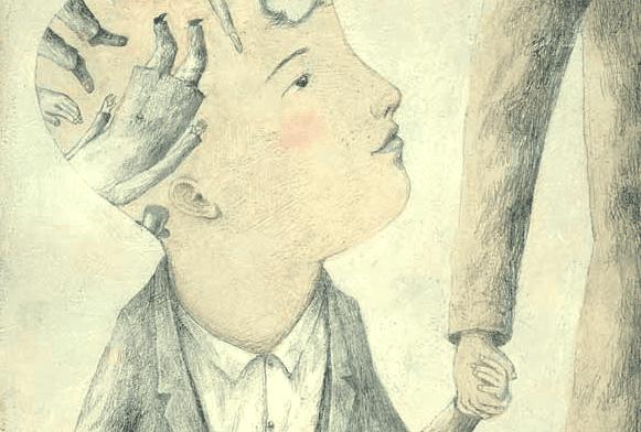 Chłopiec z rysunkami w głowie.