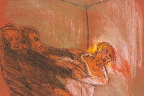 Delirium - mężczyzna próbuje uciec z uchwytu dwóch ludzi
