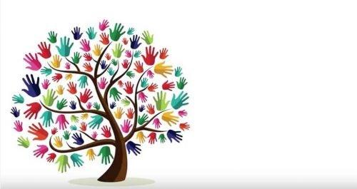 drzewo z kolorowymi dłońmi zamiast liści