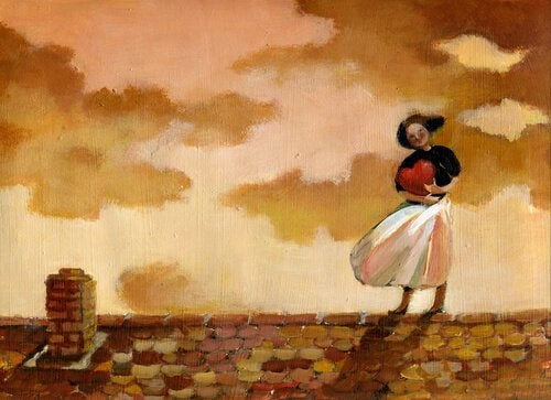 Kobieta z sercem na dachu.