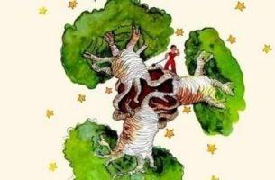 Drzewo baobabu i Mały Książę.