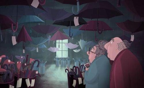 Lost Property - dwoje starszych ludzi wśród parasoli