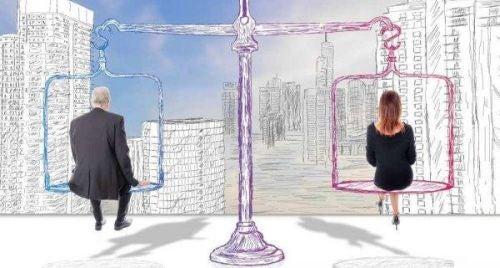 Machismo - mężczyzna i kobieta siedzą na wadze