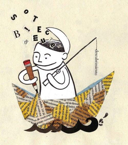 Terapia narracyjna - człowiek pisze swoją historię w papierowej łódce