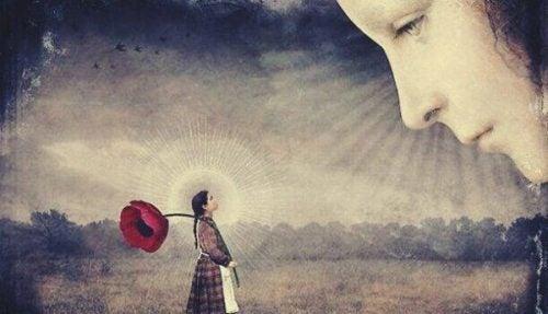 Kompleks Arystotelesa - Twarz patrzy z nieba na dziewczynę z wielkim kwiatem
