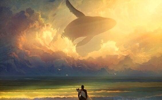 Wieloryb w chmurach.