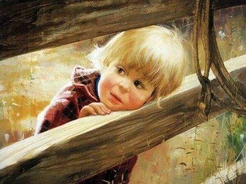 Chłopiec o blond włosach - ludzkość rodzi się w każdym dziecku